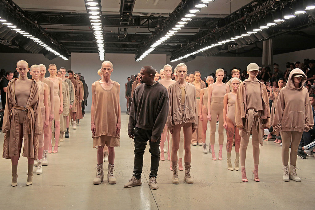 Kanye West at the presentation of season two of his Yeezy clothing line, which was conceived by Beecroft.