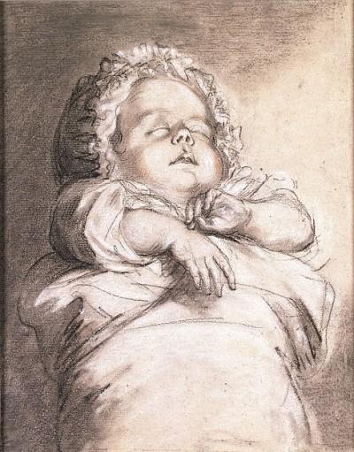 אליזבט לואיז ויג'ה לה ברון, תינוק ישן, 1786, גירי פסטל על נייר, אוסף פרטי