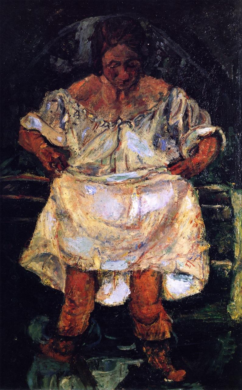 חיים סוטין, אשה נכנסת למים, 1931 בקירוב, שב, אוסף מרסלן ומדלן קסטן, פריז