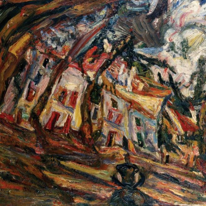 חיים סוטין, כיכר הכפר בסרה, 1920 בקירוב, מוזיאון ישראל, ירושלים.jpg