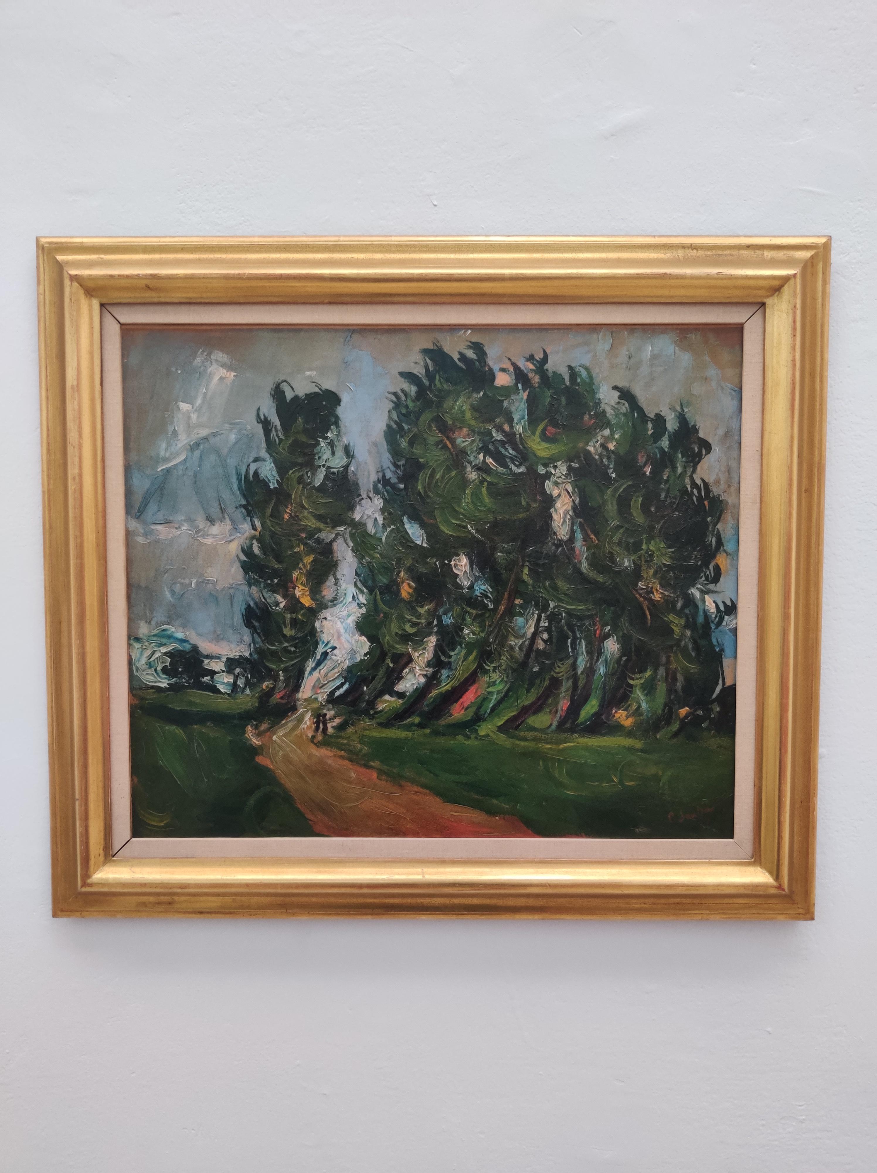 חיים סוטין, שביל ביער עם שני ילדים, עשור שלישי של המאה העשרים, בקירוב, אוסף מוזיאון הכט, אוניברסיטת חיפה.jpg
