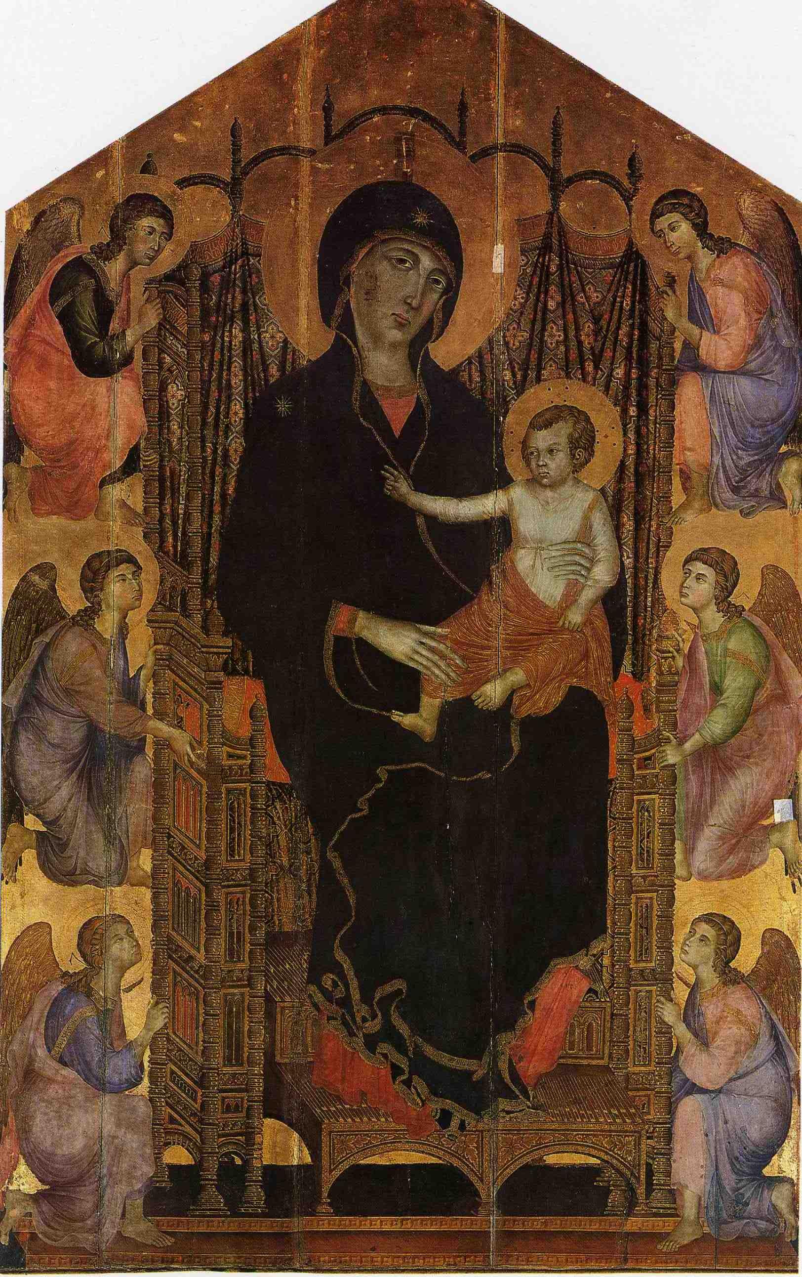 דוצ'יו,מדונה מוכתרת,מדונה רוצ'לאי,1285בקירוב,טמפרה.ךפנל,450X290,אופיצי
