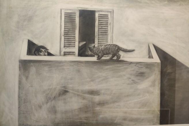 חתול במרפסת, 1991 עפרון על נייר