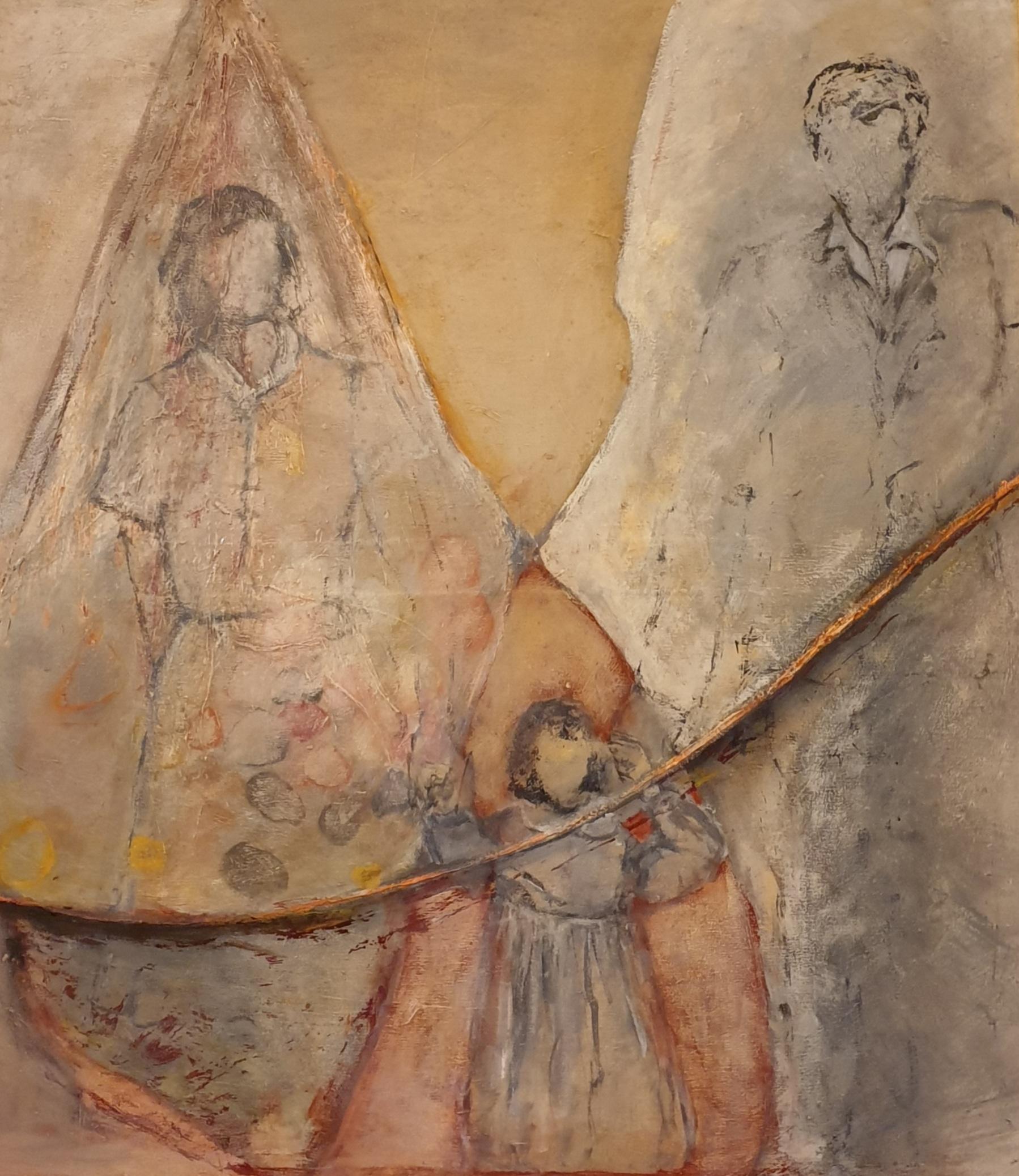 יד ביד, 1991-2021, אקריליק על בד, 100X90 סמ